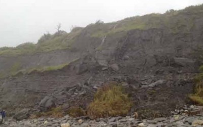 Rock fall at Monmouth Beach